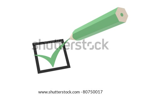 Check mark and a Green Pencil