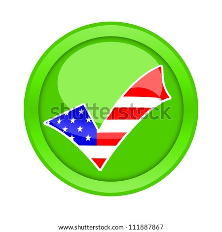 Check mark button with american flag