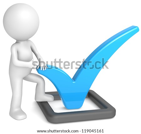 Check Mark. 3D little human character pointing at a Check Mark. Blue and matte black.People series.
