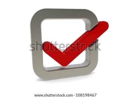 Check mark icon with metallic border