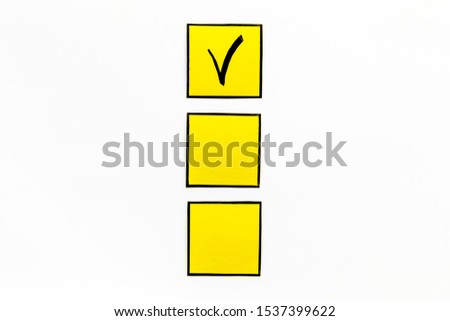 Check mark in check-box of check list on white background top view copy space #1537399622