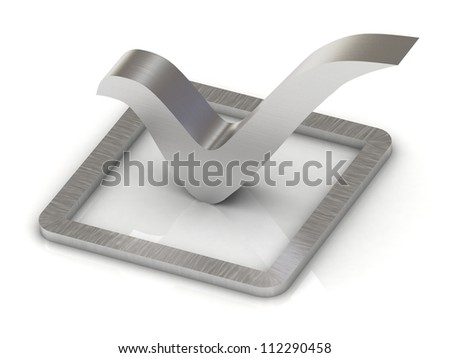 Check mark of steel 3d illustration over white background