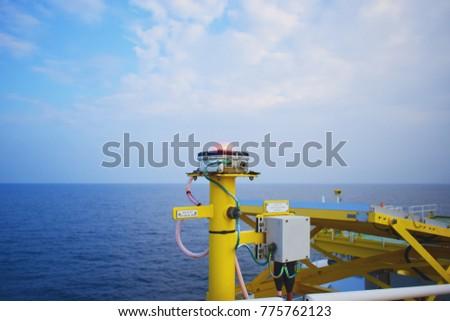 Check navigation lights bulbs on the oil & gas offshore platform.Heli Deck Navigation Lighting.Remote platform. #775762123