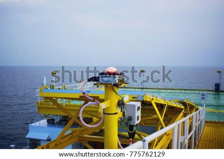 Check navigation lights bulbs on the oil & gas offshore platform.Heli Deck Navigation Lighting.Remote platform. #775762129