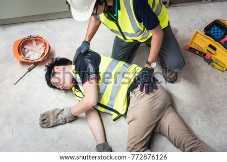 Check Response, Life-saving and rescue methods. Accident at work of electrician job or Maintenance worker in the control room of factory.
