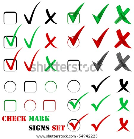 Check sign and tick sign set isolated on white
