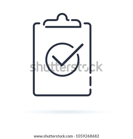 Check test line icon, outline sign. Linear style pictogram isolated on white. Clipboard with tick symbol, logo illustration. Agreement business document. Checkmark report