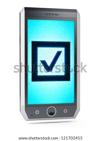 Check  This is my own design of smart phone, therefore you can use this picture for commercial purposes. Full collection of icons like that is in my portfolio