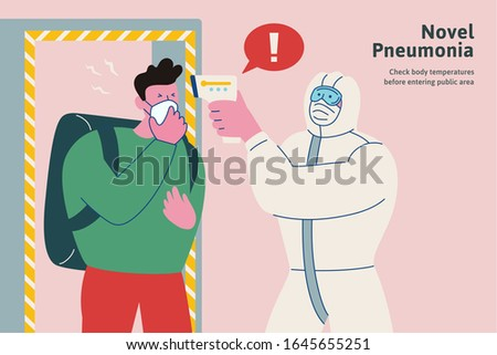 Check your body temperatures before entering public area during this period, novel pneumonia flat style COVID-19 illustration