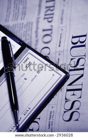 checkbook and newspaper (blue tone)