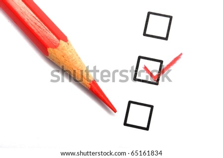 checkbox and pencil showing science education research or customer satisfaction survey concept