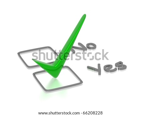 Checkbox with green checkmark isolated on white