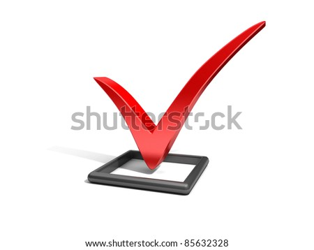 Checkbox with red checkmark isolated on white