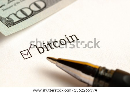 Checked checkbox with word bitcoin. questionnaire concept. to illustrate news or articles. #1362265394