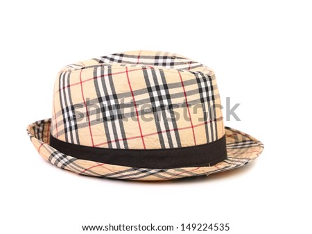 Checked hat.