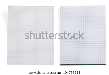 checked note paper isolated on white background