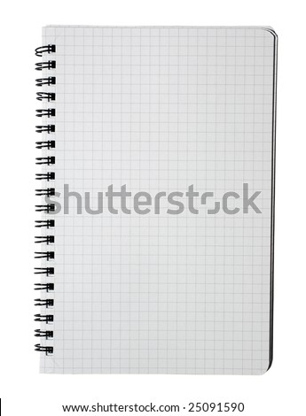 Checked workbook with binder isolated on white background. Clipping path.