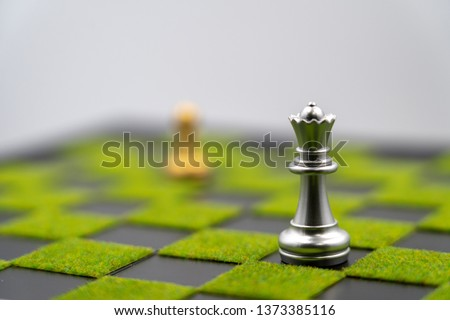 checkerboard background of green grass with queen. Have copy space. one queen can make strong business. Strong leader