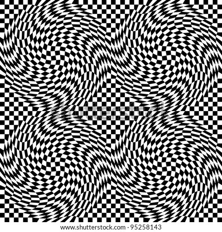 Checkerboard Warp pattern in black and white repeats seamlessly.