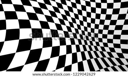 Checkered abstract wallpaper, black and white fabric illusion pattern texture background. 3d squares illustration