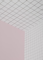 Checkered and pink background. Geometric angle, three-dimensional space background template. Conceptual art minimalistic photography. Copy space