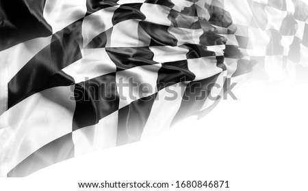 Checkered black and white racing flag ストックフォト ©