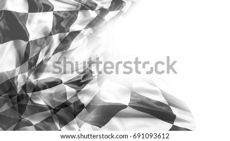 Checkered black and white racing flag. Copy space
