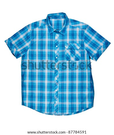 checkered blue shirt with short sleeves on a white background