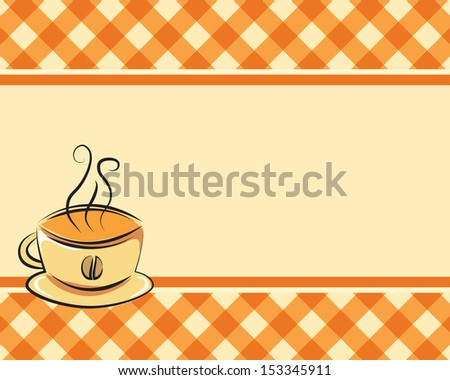 Checkered coffee background with space for text