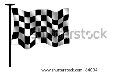 Checkered flag. Often seen in speed races.