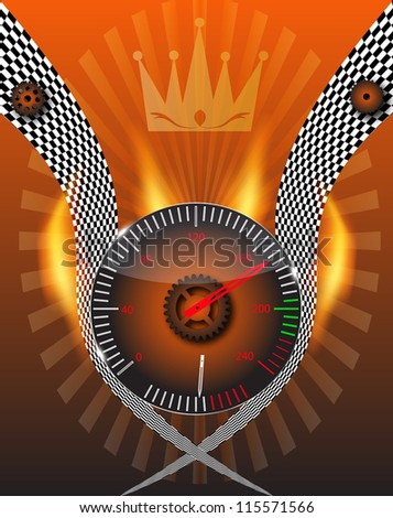 Checkered flag, speedometer.  Raster version