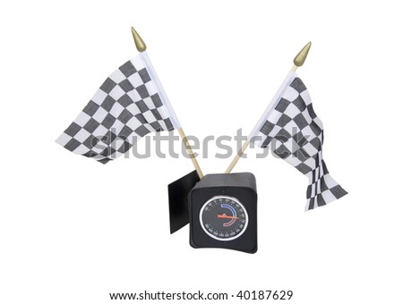Checkered flags that symbolize the finish line with a mechanical gauge - path included