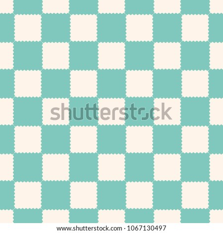 Checkered geometric seamless pattern with jagged square shapes. Abstract texture in vintage pastel colors, aqua green and beige. Checker background, repeat tiles. Decorative design. - Stock image