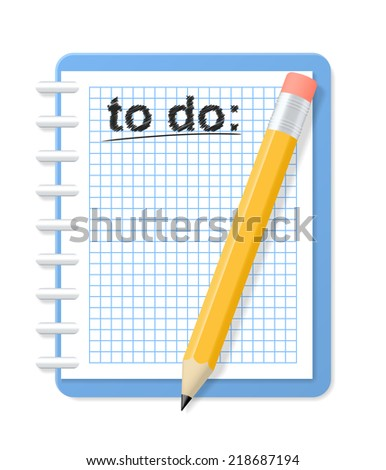Checkered notebook and pencil. To do list. 2d illustration