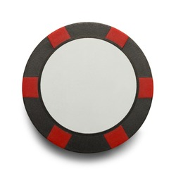 Checkered Poker Chip with Copy Space Isolaed on White Background.