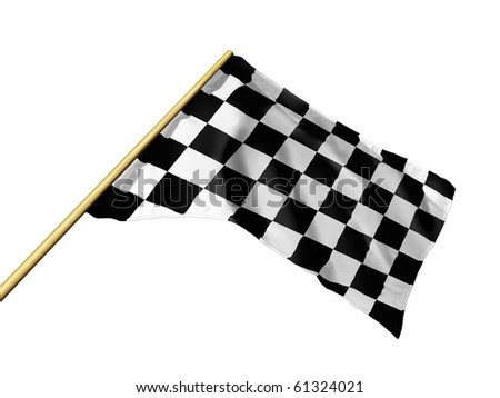 Auto Racing White on Checkered Racing Flag Isolated On White Stock Photo 61324021