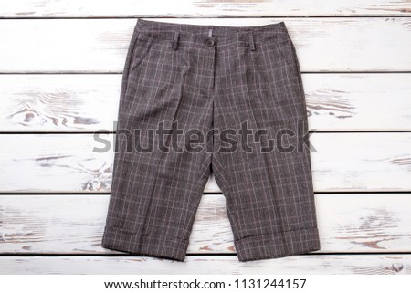 Checkered retro shorts. Women shorts with turn-ups. #1131244157