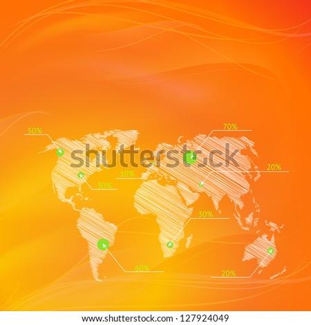 Checkin on The World Map, infographics. Illustration