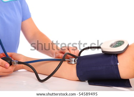 checking blood pressure, stethoscope