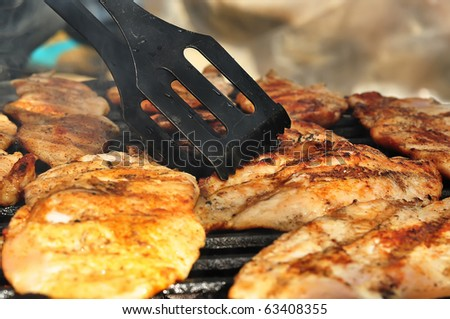 Checking for the right amount of chicken breast with a big fork