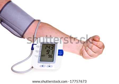 Checking the blood pressure isolated over white