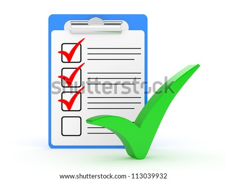 Checklist and Clipboard with white background. 3d illustration