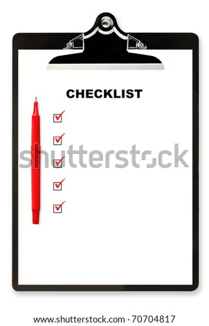 Checklist and red pen on clipboard, with boxes ticked.  Lots of copyspace.