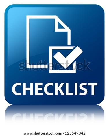 Checklist glossy blue reflected square button