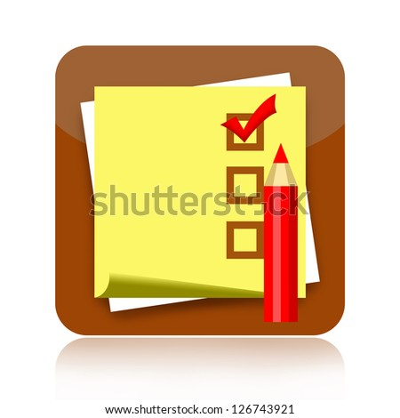 Checklist icon with sticky note paper and red pencil