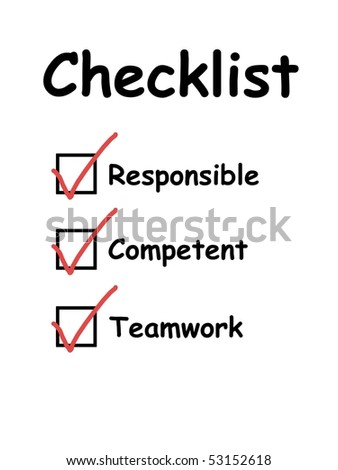 Checklist used in interview and evaluation of employees or workers. With checkboxes ticked. For concepts such as business and work life, service and satisfaction, and quality control tests.
