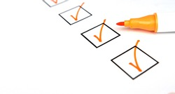 Checklist with completed tasks. Checkboxes in the items. Place for your text