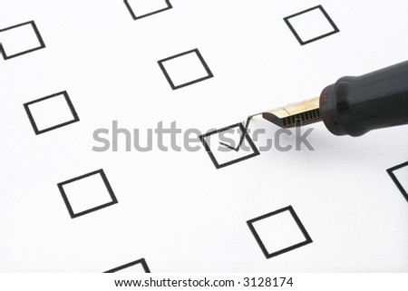 checklist with one box ticked and a pen