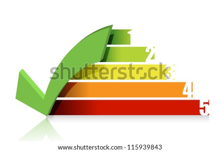 checkmark colorful graph illustration design over white