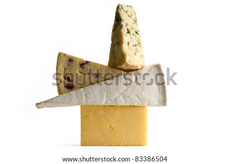 Cheddar, Brie, White Stilton with Cranberry and Saint Agur blue cheese selection isolated on white background